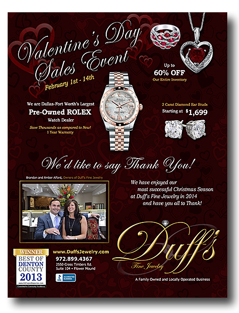 Graphic Design - Magazine Ad - Duff's Fine Jewelry